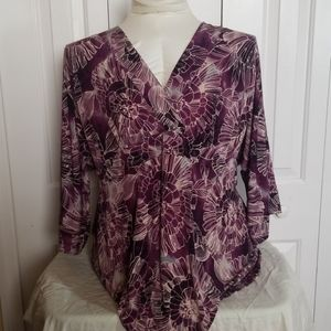 Avenue purple flower blouse